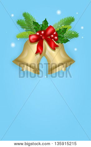 Vertical christmas banner with bells illustration with red ribbon