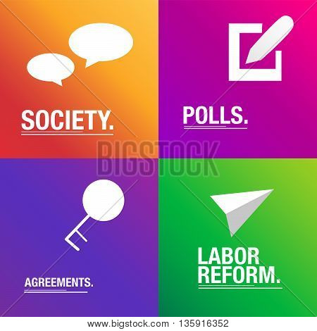 Politics background about society, agreements and polls