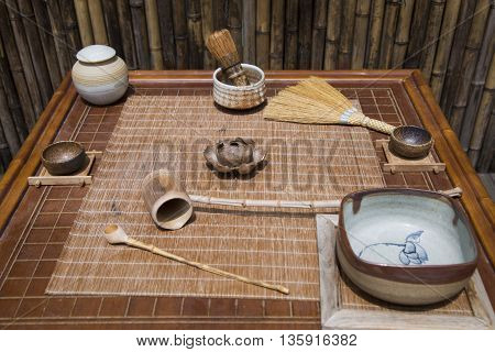 Japanese set for a traditional meal and tea