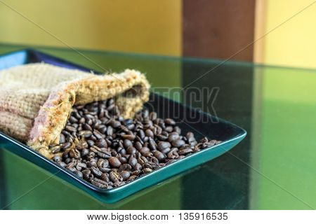 Dark Roast Coffee Beans in the tray