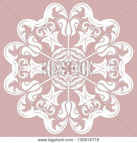 Oriental vector pattern with arabesques and floral elements. Traditional classic ornament. Purple and white pattern