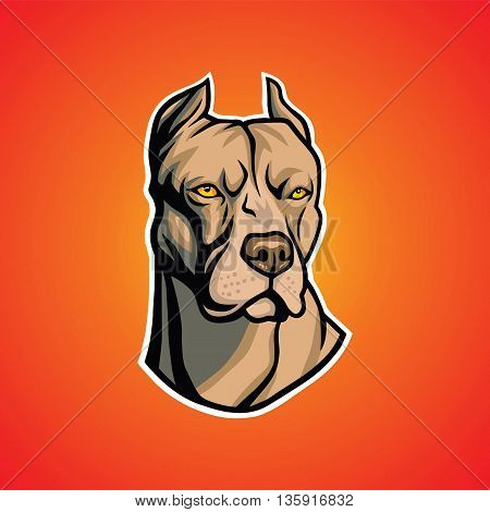 Pit Bull Dog Head Art Illustration Vector