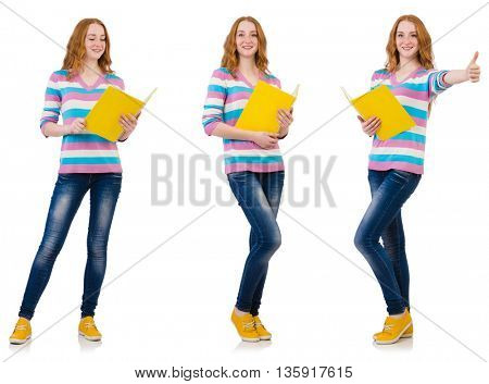 Young student with books isolated on white