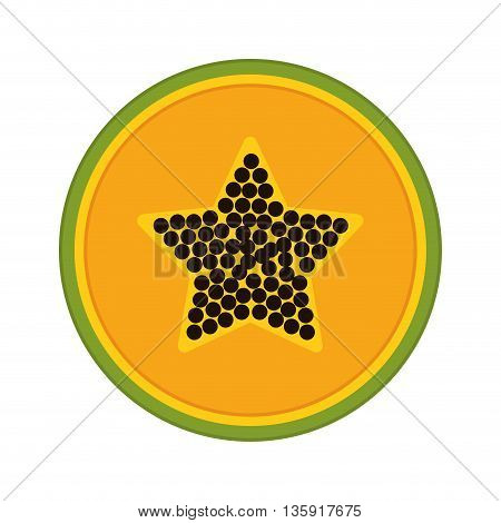 Organic and Healthy food concept represented by papaya fruit icon. isolated and flat illustration
