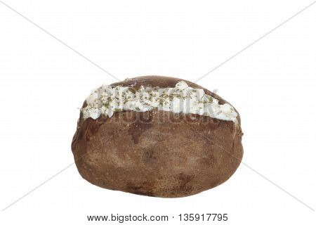 baked potato with sour cream and parsley