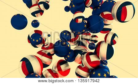 Large group of orbs or spheres levitation in empty space. 3D rendering. France and European Union flags