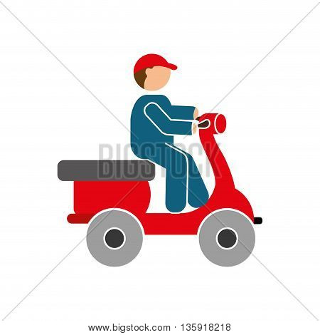 Delivery and Shipping concept represented by motorcycle icon. isolated and flat illustration