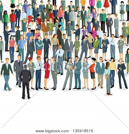 Groups and crowds on a place, community, society, citizens,