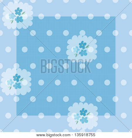 Tender seamless pattern with forget-me-nots and dots. Vector illustration.
