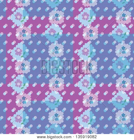 Seamless pattern with flowers and dots. Elegant vector illustration for textile, fabrics, prints.