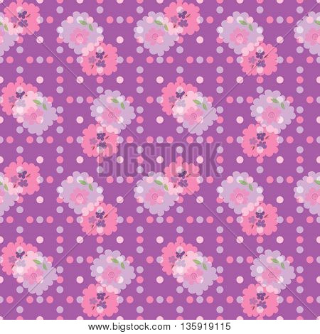 Seamless pattern with forget-me-nots, roses and dots. Vector illustration with flowers for textile