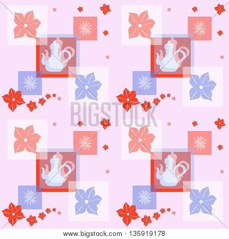 Romantic tea time seamless pattern. Vector background with teapots and flowers.