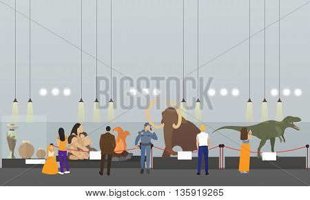 Archaeological museum interior vector banner. Visitors in history museum watching exhibition. Antique museum of paleontology.