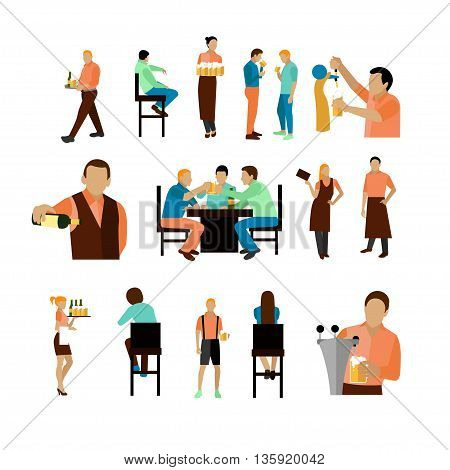 Vector set of beer bar workers and visitor isolated on white background. Beer restaurant icons and design elements. People drinking beer in a bar.