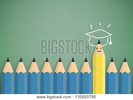 Illustration vector yellow pencil stand out from the blue pencil with success and graduation. Symbols with graduation cap top.