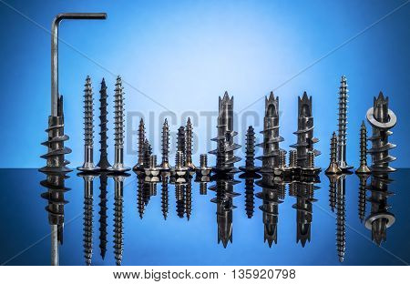 City Skyline Of Screws And Bolts