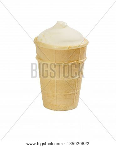 Ice cream in waffle cup isolated on white background