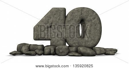 stone number forty on white background - 3d rendering