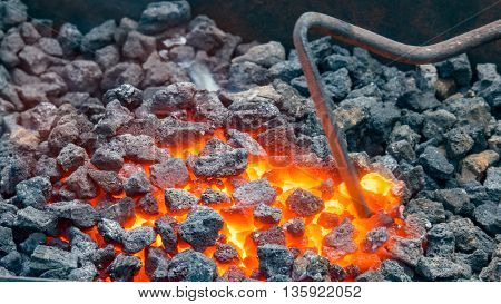very hot forge used by blacksmiths to craft metal