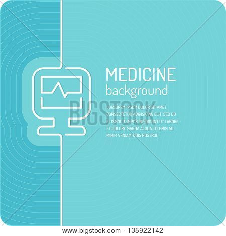 Linear vector background for medicine. Poster medical clinic in blue color.