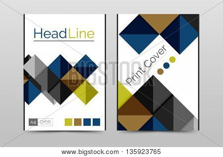 Business annual report brochure cover vector template, A4 size, Leaflet or web abstract geometric background, Poster magazine, Flyer layout