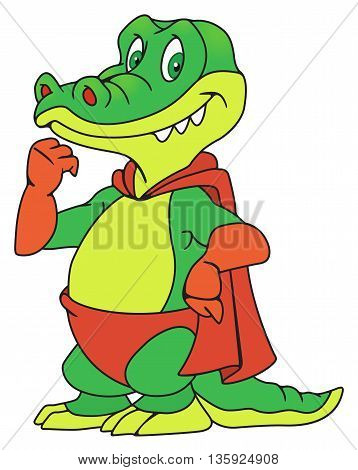 Illustration of a smiling crocodile in the raincoat