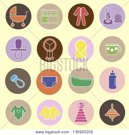 Colorful flat web icon set. Baby equpment toys feeding and care