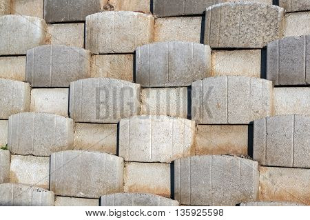 Pattern Formed By Cement Blocks Of Retaining Wall