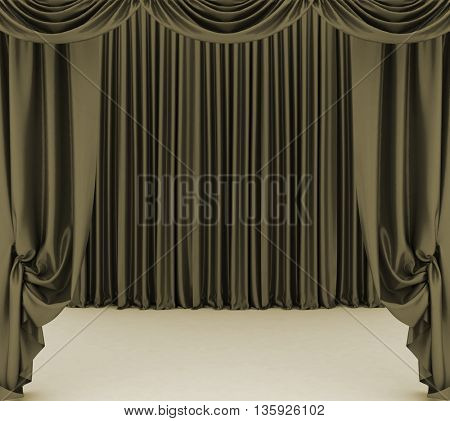 Open  theater curtain. 3D rendering.
