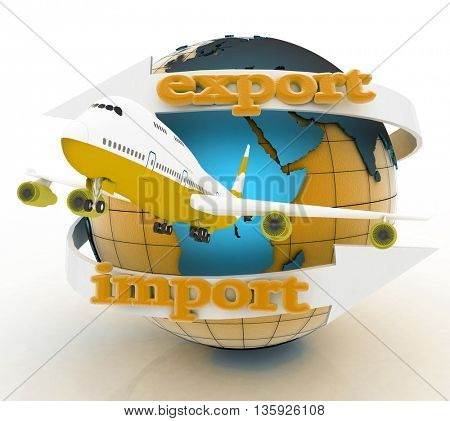 Airplane and  globe. 3D rendering.
