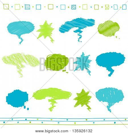 Vector collection of scribbled speech bubbles with hand drawn style of blue and green colors