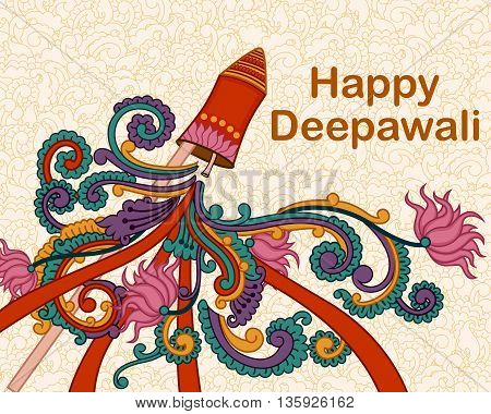 Vector design of Diwali decorated firecracker in Indian art style