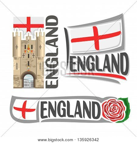 Vector logo for England, 3 isolated illustrations: Monkgate Monk Bar of York City Walls on background of national state flag, symbol of England and english flag beside red rose green leaf close-up