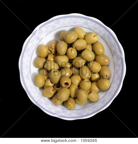 Plate With Green Olives