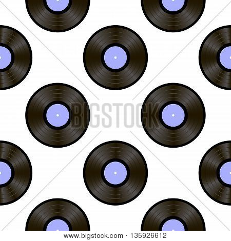 Retro Vinyls Isolated on White Background. Sound Disc Seamless Pattern