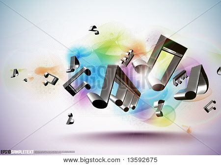 Vector 3D Musical Notes