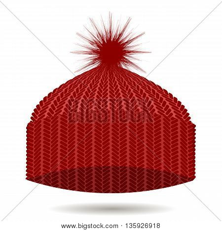 Red Knitted Cap Isolated on White Background. Winter Hat