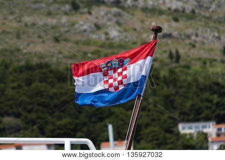 Waving Croatia flag on the pole with green background