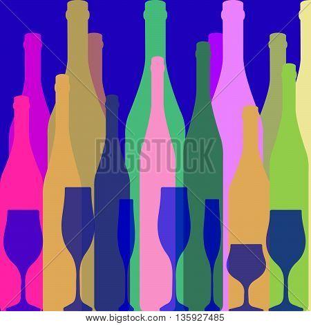 Bottles silhouette .Vector background bottle.Template for menu card. Colorful bottle on background.Alcoholic Bar menu background.