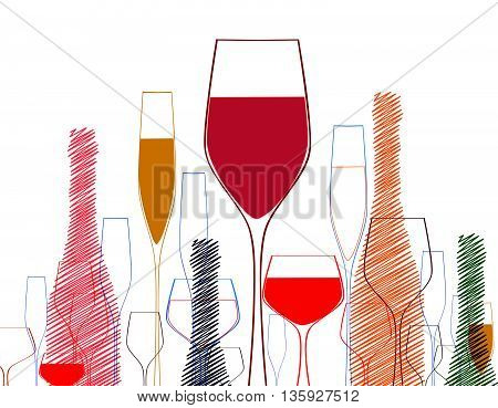 Cocktail party vector.Wine bottle and glass.CardCocktail party . Cocktail party invitation or bar menu with of cocktail glasses.Background with wine bottles.Cocktail party poster.