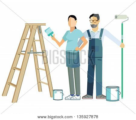 painting itself and renovate, workwear, painter, home