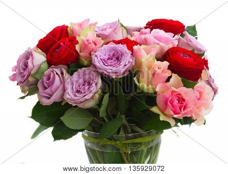 bouquet of roses and ranunculus close up isolated on white background