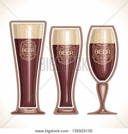 Vector logo for glass cups of beer, consisting of 3 cups, filled to the brim dark porter beer on a white background. On glass pint with alcohol drink label: Premium quality
