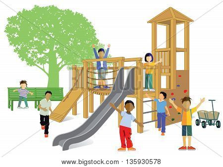 Children's playground, Kindergarten, jumping, happy kids, school children