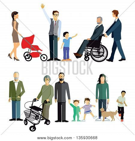 Family generations, grandparents, disability, wheelchair, grandmother, children,