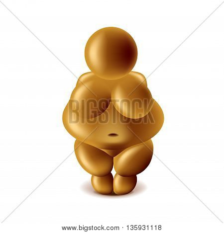 Venus of Willendorf isolated on white photo-realistic vector illustration