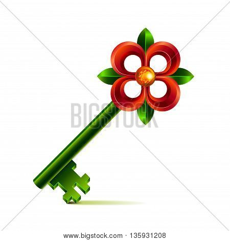 Vintage flower key isolated on white photo-realistic vector illustration