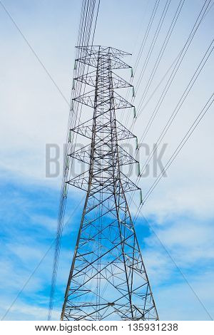 high voltage post with blue sky background