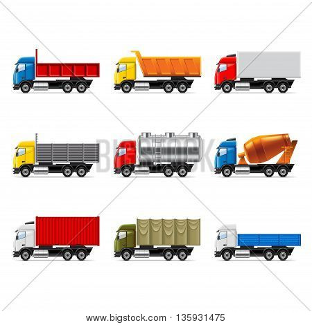 Trucks icons detailed photo realistic vector set
