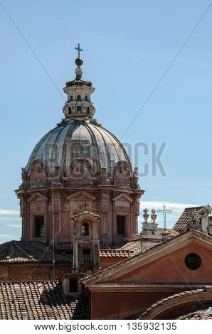 Dome of the Cathedral in The Center of Rome